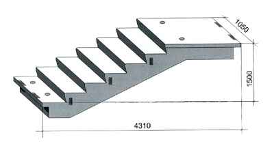 Типовой бетонный элемент лестничного марша