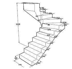 Вариант простейшего проекта изготовления лестничных маршей с указанием необходимых размеров