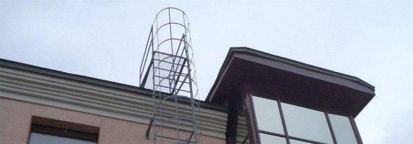 Верхний участок стационарной пожарной лестницы типа П1-2.