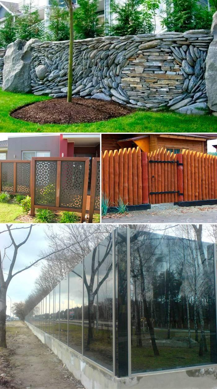 Забор в разной стилистике