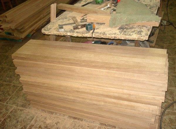 Заготовки ступеней из дубовой доски
